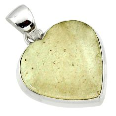 15.08cts natural libyan desert glass (gold tektite) silver heart pendant r40278