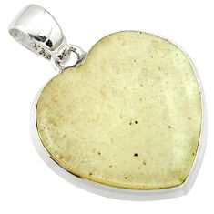 18.68cts natural libyan desert glass (gold tektite) silver heart pendant r40279