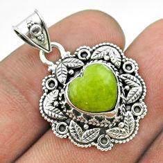 5.36cts natural lizardite (meditation stone) 925 silver heart pendant t56150