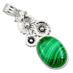 Clearance Sale- 13.36cts natural malachite (pilot's stone) 925 silver flower pendant d42738