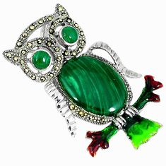 Natural green malachite (pilot's stone) 925 silver owl pendant jewelry c16445