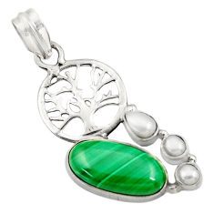 Clearance Sale- 9.39cts natural malachite (pilot's stone) 925 silver tree of life pendant d42748