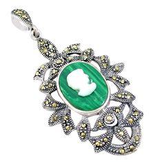Natural green malachite (pilot's stone) pearl lady face silver pendant c16649