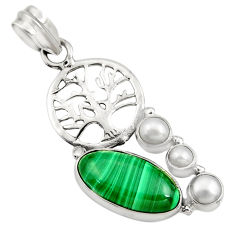 Clearance Sale- 11.27cts natural malachite (pilot's stone) silver tree of life pendant d42727