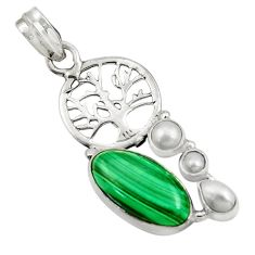 Clearance Sale- 10.35cts natural malachite (pilot's stone) silver tree of life pendant d42753