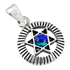 0.45cts natural malachite in chrysocolla 925 silver wicca symbol pendant c10267