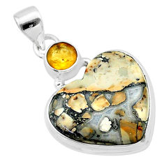16.20cts heart malinga jasper citrine 925 sterling silver pendant t23113