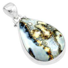 19.68cts natural malinga jasper pear 925 sterling silver pendant jewelry t18451