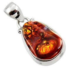 11.57cts natural mexican fire agate 925 silver pendant r50053