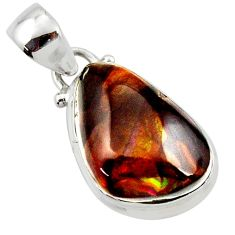 13.04cts natural mexican fire agate 925 silver pendant r50059