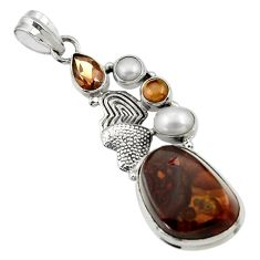 Clearance Sale- 20.45cts natural mexican fire agate pearl silver couple hearts pendant d43498