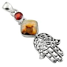 Natural mexican laguna lace agate 925 silver hand of god hamsa pendant r52826