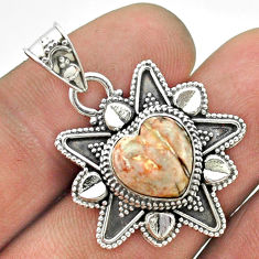 5.11cts natural mexican laguna lace agate 925 silver heart pendant t56076