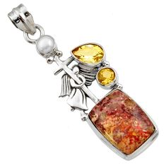 12.85cts natural mexican laguna lace agate 925 silver holy cross pendant d45144