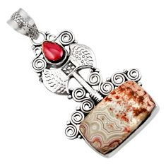 14.72cts natural mexican laguna lace agate 925 silver pendant d42139
