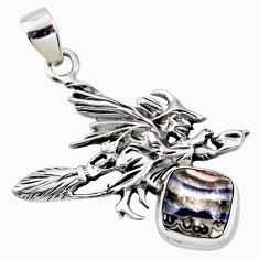 Natural mexican laguna lace agate silver pentacle witches broom pendant r52950