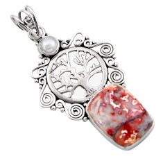 10.37cts natural mexican laguna lace agate silver tree of life pendant d46730