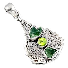 8.42cts natural moldavite (genuine czech) 925 silver deltoid leaf pendant r57103
