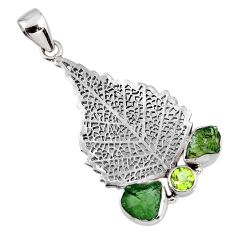 8.05cts natural moldavite (genuine czech) 925 silver deltoid leaf pendant r57108