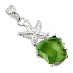 7.22cts natural moldavite (genuine czech) 925 silver star fish pendant r29362