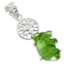 8.69cts natural moldavite (genuine czech) 925 silver tree of life pendant r29375