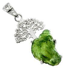 9.86cts natural moldavite (genuine czech) 925 silver tree of life pendant r29378
