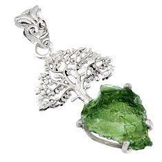 7.24cts natural moldavite (genuine czech) 925 silver tree of life pendant r56965