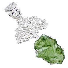 7.22cts natural moldavite (genuine czech) 925 silver tree of life pendant r56968