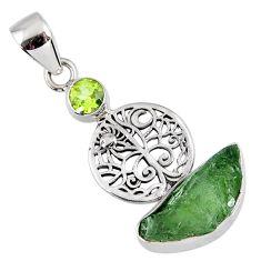 7.24cts natural moldavite (genuine czech) 925 silver tree of life pendant r57129