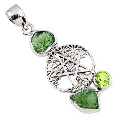 7.15cts natural moldavite (genuine czech) silver star of david pendant r57122