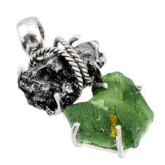 20.17cts natural moldavite campo del cielo (meteorite) 925 silver pendant r72957