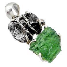 18.25cts natural moldavite campo del cielo (meteorite) 925 silver pendant r72958