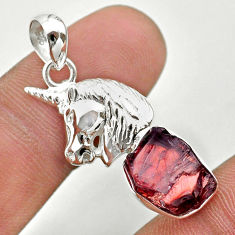 6.04cts natural moon garnet rough 925 sterling silver horse pendant t30903