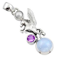5.33cts natural moonstone amethyst pearl 925 silver unicorn pendant r52717
