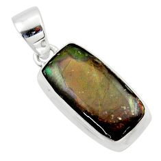 11.20cts natural multi color ammolite (canadian) 925 silver pendant r40142