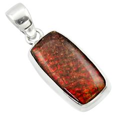 11.57cts natural multi color ammolite (canadian) 925 silver pendant r40158