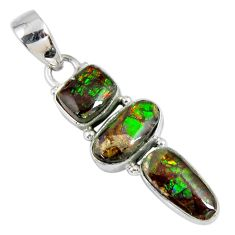10.28cts natural multi color ammolite (canadian) 925 silver pendant r55687