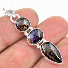 8.84cts natural multi color ammolite (canadian) 925 silver pendant t18883