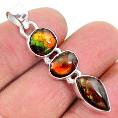 9.39cts natural multi color ammolite (canadian) 925 silver pendant t18899