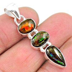 8.09cts natural multi color ammolite (canadian) 925 silver pendant t18901