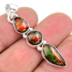 8.09cts natural multi color ammolite (canadian) 925 silver pendant t18905