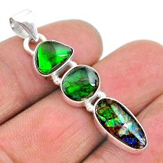 9.18cts natural multi color ammolite (canadian) 925 silver pendant t18914