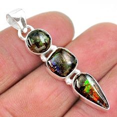 8.49cts natural multi color ammolite (canadian) 925 silver pendant t18919