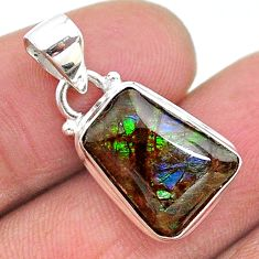 7.59cts natural multi color ammolite (canadian) 925 silver pendant t18945