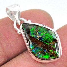 7.17cts natural multi color ammolite (canadian) 925 silver pendant t18950