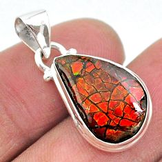8.12cts natural multi color ammolite (canadian) 925 silver pendant t18951