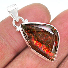 8.93cts natural multi color ammolite (canadian) 925 silver pendant t18955