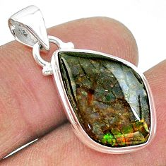 9.80cts natural multi color ammolite (canadian) 925 silver pendant t18961
