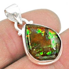 7.50cts natural multi color ammolite (canadian) 925 silver pendant t18962