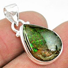 7.50cts natural multi color ammolite (canadian) 925 silver pendant t18965